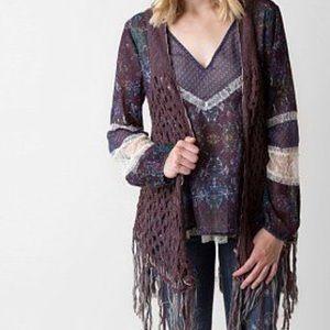 9d752f5f6d9e5b gimmicks by BKE Tops - Open weave fringe vest